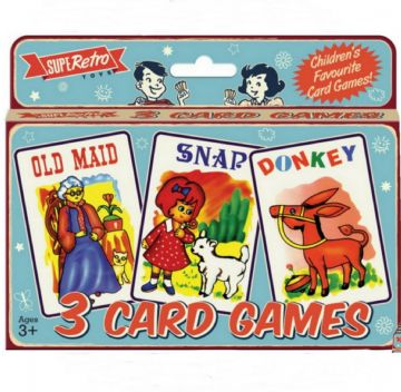 3 Packs of Childrens Classic Card Games Old Maid Snap Donkey